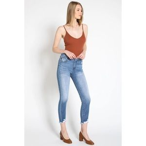 🌸 KANCAN Mid Rise Distressed Ankle Skinny Jeans